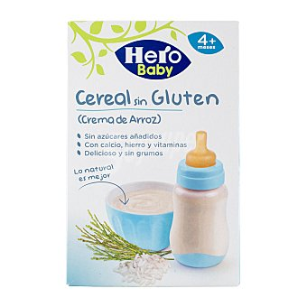 Hero Baby Crema de arroz sin gluten especial para bebés a partir de 4 meses 300 g