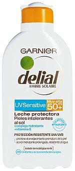 Delial Garnier Sensitive advanced leche bronceadora para rostro y cuerpo FP-50+ resistente al agua tubo 200 ml para piel clara sensible e intolerante al sol Tubo 200 ml