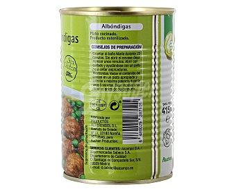 Productos Económicos Alcampo Albóndigas con guisantes preparadas Lata de 415 gramos
