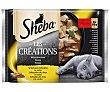 Comida con sabor a selección de aves para gatos LES créations Pack 4 x 85 g Sheba