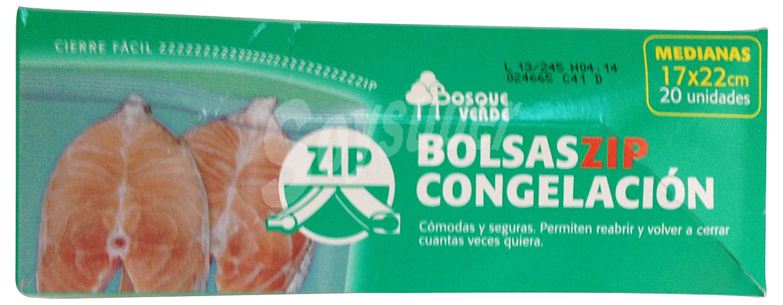 Bosque verde bolsa congelacion cierre zip mediana 17 x 22 - Bolsas congelacion ...