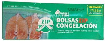 Bosque Verde Bolsa congelacion cierre zip mediana 17 x 22 cm (envase verde) Paquete 20 u