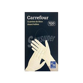 Carrefour 100 Guantes desechables de Látex P/M - Blanco 100 ud