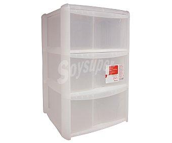 Auchan Torre de ordenación con 3 cajones fabricada en plástico color transparente, 39,5x38,5x61 centímetros 1 Unidad