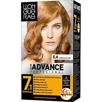 Llongueras Tinte Color Advance cobrizo claro nº 8.4 crema gel colorante Caja 1 unidad