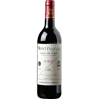 MONTEVANNOS Vino tinto roble tempranillo merlot 5 meses en barrica D.O. Ribera del Duero botella 75 cl 75 cl
