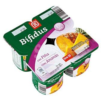 DIA Yogur bífidus con piña 0% Pack 4 unidades 125 g