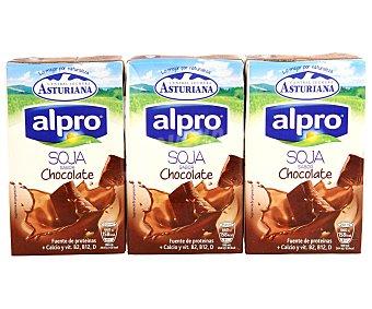 Central Lechera Asturiana Alpro batido de soja sabor chocolate sin colesterol con Calcio pack 3 envase 250 ml 3 envases de 250 ml