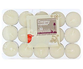Auchan Velas calientaplatos o tealights perfumadas con olor a vainilla Pack de 30 Unidades