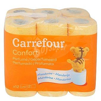Carrefour Papel higiénico perfumado mandarina dos capas 12 ud