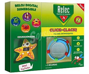 Relec click-clack Pulsera infantil anti-mosquitos, con reloj con forma de estrella y 2 recargas Click-clack