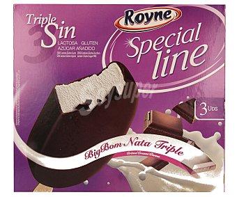 ROYNE Bombón de nata recubierto de chocolate negro triple sin (sin lactosa, sin gluten, sin azúcares añadidos) 3 unidades de 110 mililitros