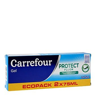Carrefour Dentífrico gel bi fluor Pack 2x75 ml