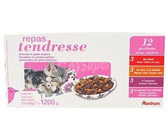 Auchan Comida Húmeda para Gatitos de Bocaditos de Gelatina Surtidos Bolsa 12 Unidades