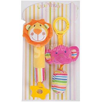 LLOPIS Sonajeros mordedores de elefante y león en alegres colores 18 cm