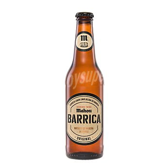 Mahou Cerveza rubia premium de barrica matices de madera Bourbon Botella 33 cl