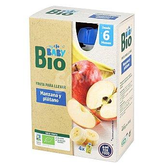 Carrefour Baby Preparado de manzana y plátano sin azúcar añadido desde 6 meses ecológico My Bio sin gluten pack de 4 Bolsitas de 100 g
