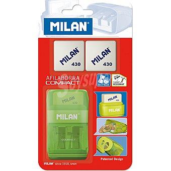 Milan Sacapuntas compact con goma de borrar + 2 recambios