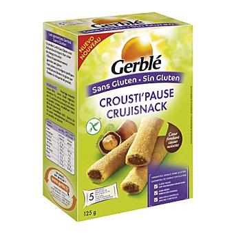GERBLÉ Crujisnacks sin gluten, barritas rellenas de crema de cacao con avellanas, crujientes y deliciosas 125 Gramos