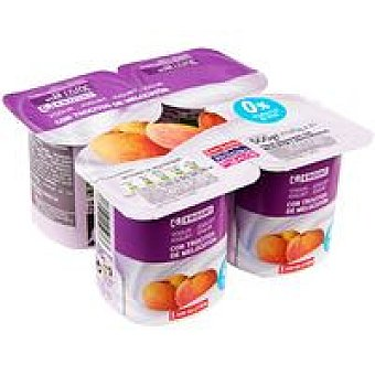Eroski Yogur desnatado con melocotón Pack 4x125 g