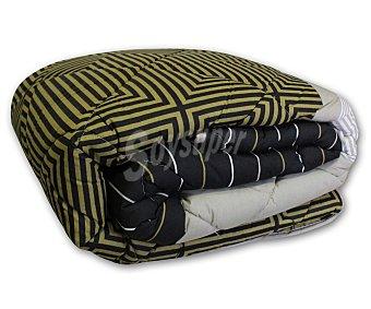AUCHAN Edredón 100% poliéster modelo Tempo color marrón para cama doble 1 Unidad