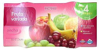 HACENDADO Tarrito de fruta variada a partir 4 meses 2 unidades de 250 g