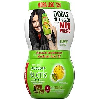 Fructis Garnier Mascarilla hidra-liso pack 2 tarro 400 ml Pack 2 tarro 400 ml