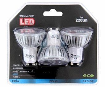 SEVENON Focos led dicroico 3 Watios, casquillo GU10, luz fría 3 unidades