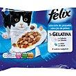 Alimento para gatos en gelatina selección de pescados bolsa 4 x 100 g Purina Felix