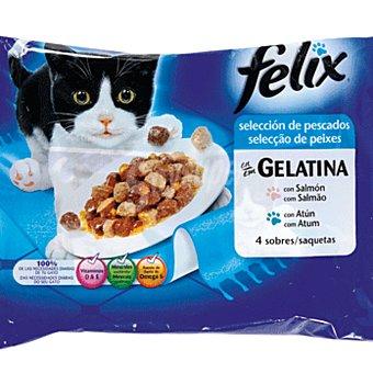 Purina Felix Alimento para gatos en gelatina selección de pescados bolsa 4 x 100 g
