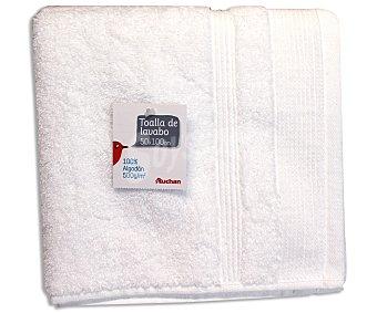 AUCHAN Toalla 100% algodón lisa para lavabo, color blanco, 50x100 Centímetros 1 Unidad