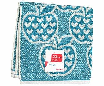 AUCHAN Paño de rizo estambado, color azul, 50x50 centímetros 1 Unidad
