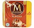 Helado de chocolate con leche y almendras Caja 6 u x 110 ml (660 ml) Magnum Frigo