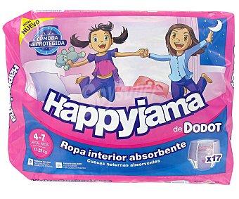 Happyjama Dodot Braguita de noche ropa interior absorbente niñas 4-7 años, 17-29 kg  Paquete 17 unidades