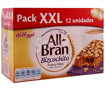 All bran Kellogg's All Bran Bizcochito fruta y fibra Pack de 12x40 g