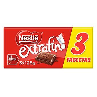Nestlé Chocolate con leche extrafino Tableta pack 3 x 125 gr