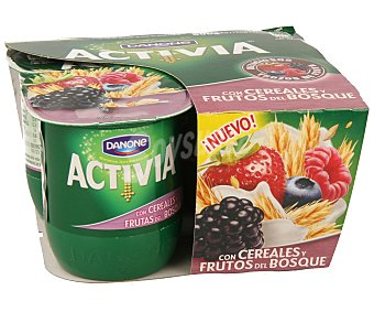 Activia Danone Yogur con cereales y frutos del bosque 4 unidades de 125 gramos