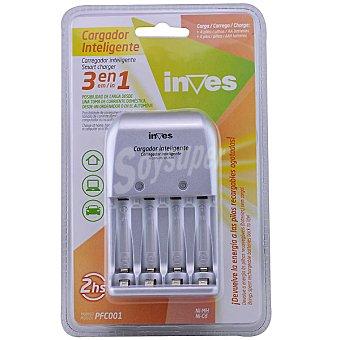 Inves PFC001 cargador inteligente para 4 pilas AA o AAA