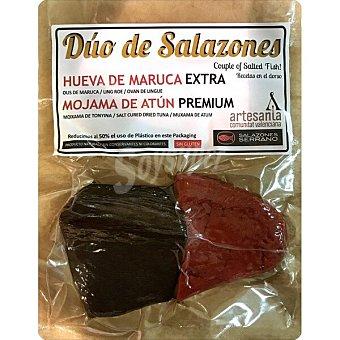 Salazones Serrano Duo de salazones: taco de mojama de atún y taco de hueva de maruca (100g) envase 200 G 100 g