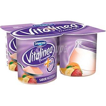 Vitalínea Danone Yogur desnatado 0% plus sabor macedonia pack 4 unds. 125 g Pack 4 unds. 125 g