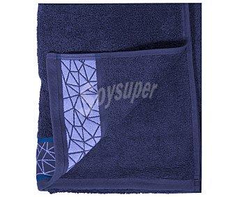 Actuel Toalla para ducha 100% algodón color gris oscuro con cenefa geométrica, densidad de 450 gramos/metro², 70x140 centímetros 1 unidad