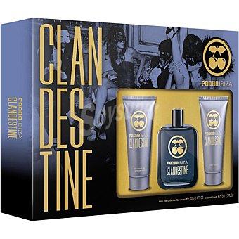 Pachá Ibiza Clandestine eau de toilette masculina + after shave tubo 75 ml + gel tubo 75 ml Spray 100 ml