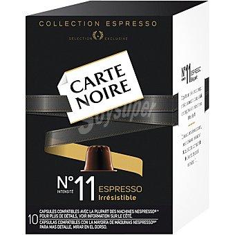 Carte Noire Espresso Irresistible Café intensidad 11 compatible con Máquinas Nespresso 10 cápsulas estuche 53 g 10 c