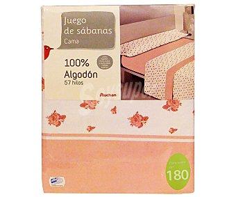 Auchan Juego de sábanas para cama de 180 centímetros, estampado con flores en tonos rosas, modelo Barbara 1 unidad