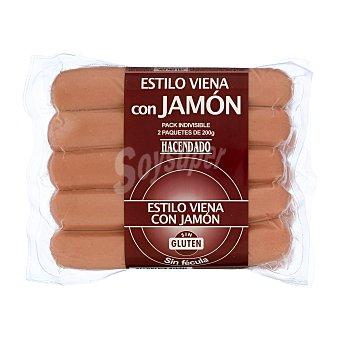 Hacendado Salchicha frankfurt tipo viena jamon Pack 2 x 200 g - 400 g