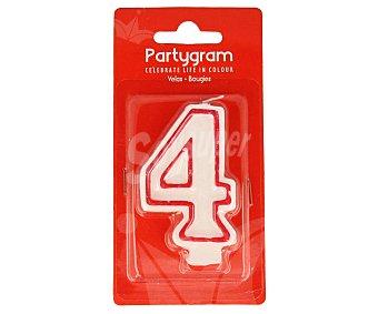 PARTYGRAM Vela de cumpleaños número 4 con filo color rojo 1 Unidad
