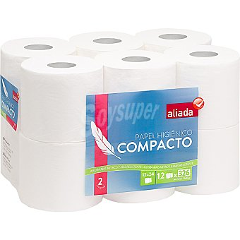 Aliada Papel higiénico blanco compacto 2 capas Paquete 12 rollos