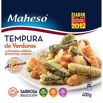 Maheso Tempura de verduras berenjena calabacín pimiento rojo y zanahoria Bolsa 400 g