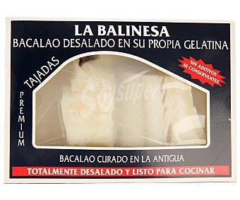 LA BALINESA Bacalao curado en la antigua totalmente desalado en su propia gelatina y listo para cocinar 370 g