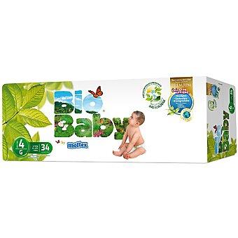 MOLTEX Bio Baby pañales unisex Talla 4 (de 9 a 13 kg) ecológicos 34 unidades